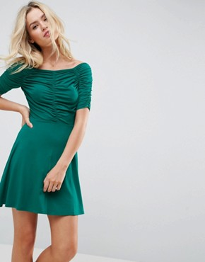 photo Mini Tea Dress with Ruching Detail by ASOS, color Green - Image 1