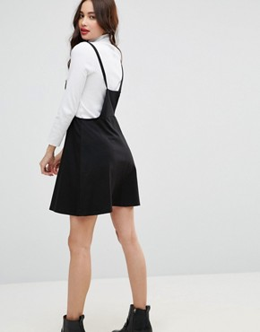 photo Mini Pinafore Dress with Strappy Back by ASOS, color Black - Image 2