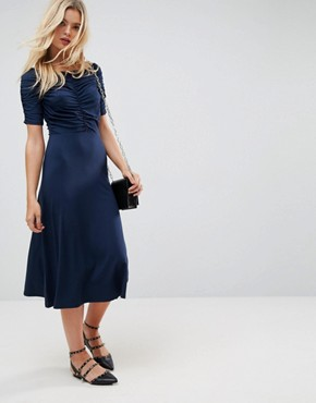photo Midi Tea Dress with Ruching Detail by ASOS, color Navy - Image 1