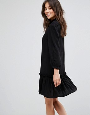 photo Woven Dress with Frill Hem by Only, color Black - Image 2
