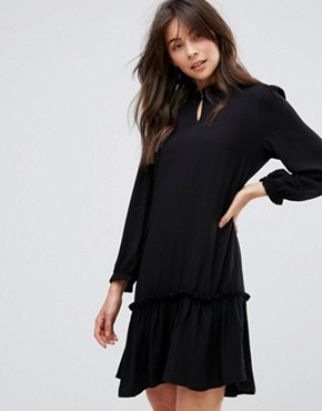photo Woven Dress with Frill Hem by Only, color Black - Image 1