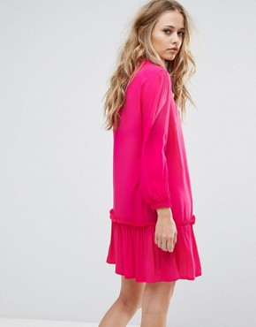 photo Woven Dress with Frill Hem by Only, color Fuchsia - Image 2