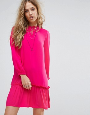 photo Woven Dress with Frill Hem by Only, color Fuchsia - Image 1