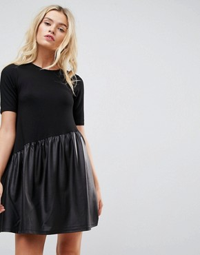 photo Mini Smock Dress with Asymmetric PU Panel by ASOS, color Black - Image 1