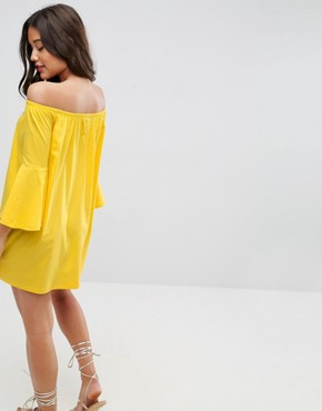 photo Off Shoulder Mini Dress with Trumpet Sleeve by ASOS, color Yellow - Image 2