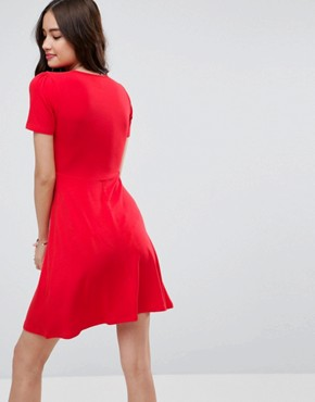 photo Mini Tea Dress by ASOS ULTIMATE, color Red - Image 2