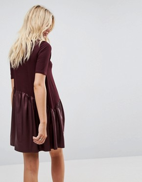 photo Mini Smock Dress with Asymmetric PU Panel by ASOS, color Burgundy - Image 2
