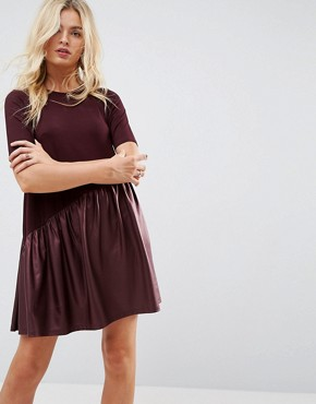 photo Mini Smock Dress with Asymmetric PU Panel by ASOS, color Burgundy - Image 1
