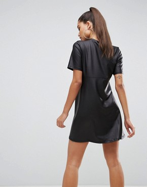 photo Mini T-Shirt Dress in PU by ASOS, color Black - Image 2