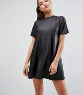 photo Mini T-Shirt Dress in PU by ASOS, color Black - Image 1