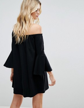 photo Off Shoulder Mini Dress with Trumpet Sleeve by ASOS, color Black - Image 2