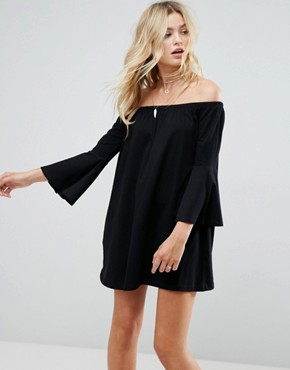 photo Off Shoulder Mini Dress with Trumpet Sleeve by ASOS, color Black - Image 1