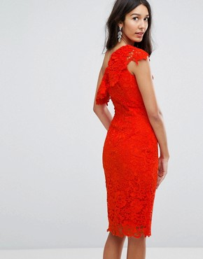 photo One Shoulder Crochet Lace Dress by Paper Dolls Tall, color Tomato Red - Image 2