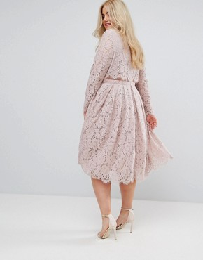 photo Lace Long Sleeve Midi Prom Dress by ASOS CURVE WEDDING, color Mink - Image 2