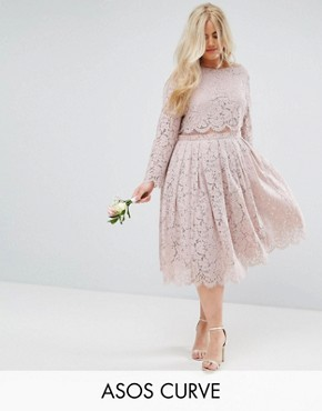 photo Lace Long Sleeve Midi Prom Dress by ASOS CURVE WEDDING, color Mink - Image 1