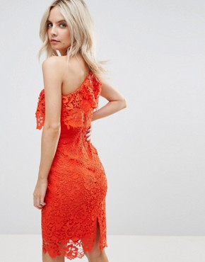 photo One Shoulder Crochet Lace Dress by Paper Dolls Petite, color Tomato Red - Image 2