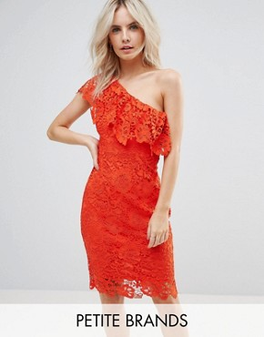 photo One Shoulder Crochet Lace Dress by Paper Dolls Petite, color Tomato Red - Image 1