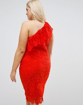 photo One Shoulder Crochet Lace Dress by Paper Dolls Plus, color Tomato Red - Image 2