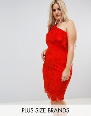 photo One Shoulder Crochet Lace Dress by Paper Dolls Plus, color Tomato Red - Image 1