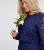 photo Lace Long Sleeve Midi Pencil Dress by ASOS CURVE WEDDING, color Navy - Image 3