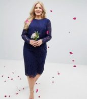 photo Lace Long Sleeve Midi Pencil Dress by ASOS CURVE WEDDING, color Navy - Image 4