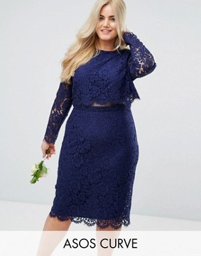 photo Lace Long Sleeve Midi Pencil Dress by ASOS CURVE WEDDING, color Navy - Image 1