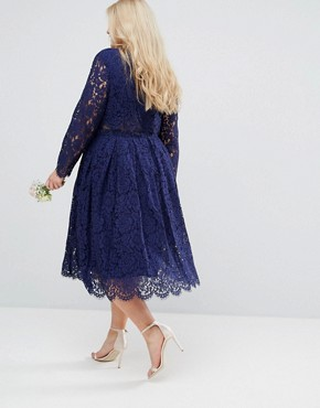 photo Lace Long Sleeve Midi Prom Dress by ASOS CURVE WEDDING, color Navy - Image 2