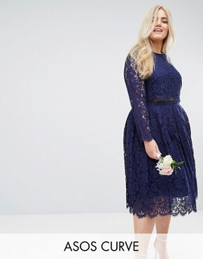 photo Lace Long Sleeve Midi Prom Dress by ASOS CURVE WEDDING, color Navy - Image 1