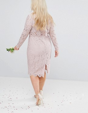 photo Lace Long Sleeve Midi Pencil Dress by ASOS CURVE WEDDING, color Mink - Image 2