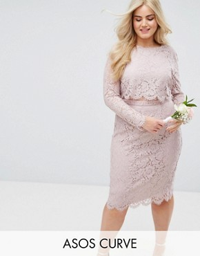 photo Lace Long Sleeve Midi Pencil Dress by ASOS CURVE WEDDING, color Mink - Image 1
