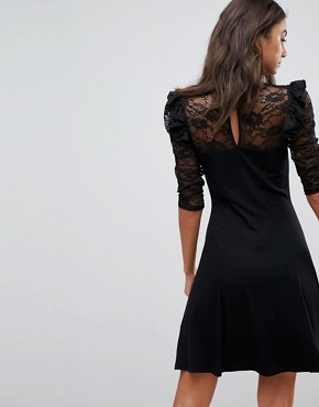 photo Mini Swing Dress with Lace Panel and Frill by ASOS TALL, color Black - Image 2