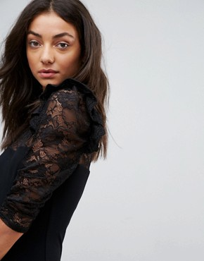 photo Mini Swing Dress with Lace Panel and Frill by ASOS TALL, color Black - Image 3
