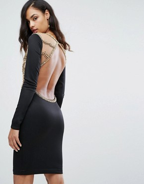 photo Heavy Embellished Knee Length Dress with Long Sleeves by A Star Is Born, color Black - Image 2