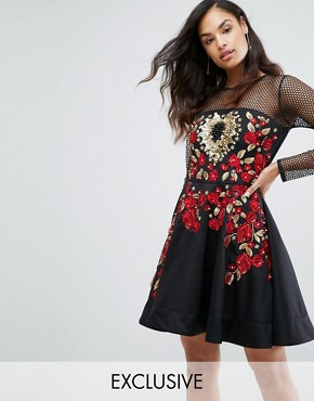 photo Rose Embroided Mini Skater Dress by A Star Is Born, color Black/Multi - Image 1