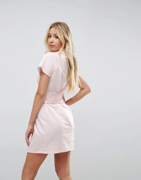 photo Loopback Mini T-Shirt Dress with Vinyl Corset by ASOS, color Pale Pink - Image 2