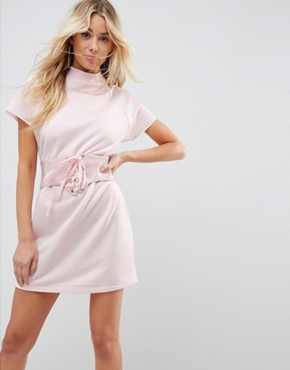 photo Loopback Mini T-Shirt Dress with Vinyl Corset by ASOS, color Pale Pink - Image 1