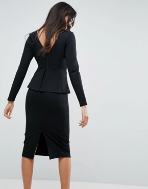 photo Midi Dress with Corset Peplum Detail by ASOS, color Black - Image 2