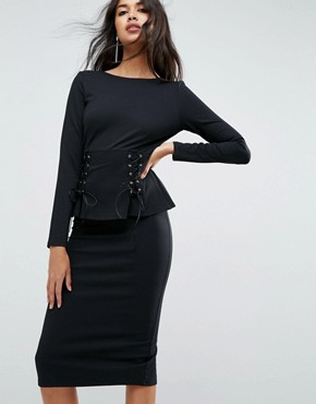 photo Midi Dress with Corset Peplum Detail by ASOS, color Black - Image 1