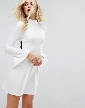 photo Mini Column Dress with Ribbon Tie and Fluted Sleeves by ASOS, color Winter White - Image 2