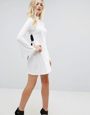 photo Mini Column Dress with Ribbon Tie and Fluted Sleeves by ASOS, color Winter White - Image 4