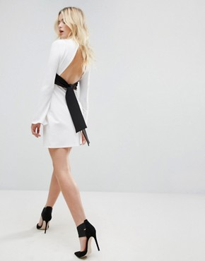 photo Mini Column Dress with Ribbon Tie and Fluted Sleeves by ASOS, color Winter White - Image 1