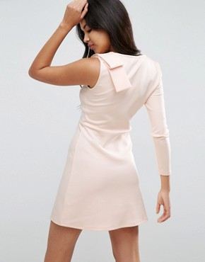 photo Mini Scuba Dress with One Sleeve and Bow Shoulder Detail by ASOS, color Nude - Image 2