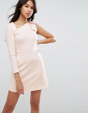 photo Mini Scuba Dress with One Sleeve and Bow Shoulder Detail by ASOS, color Nude - Image 1