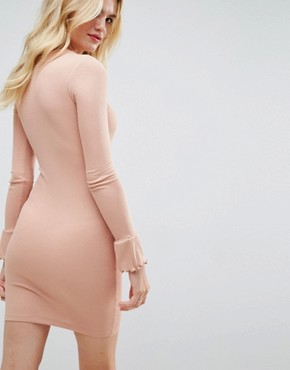 photo Mini Rib Bodycon Dress with Frill Cuffs by ASOS, color Mink - Image 2