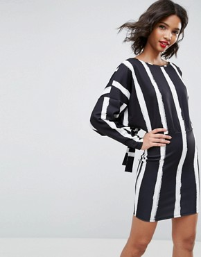 photo Knot Back Batwing Dress in Blurred Stripe Print by ASOS, color Blurred Stripe - Image 2