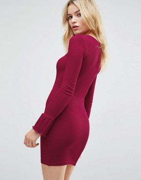 photo Mini Rib Bodycon Dress with Frill Cuffs by ASOS, color Oxblood - Image 2