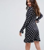 photo Wrap Front Tea Dress with Frill in Polka Dot by ASOS, color Black White Polka Dot - Image 2