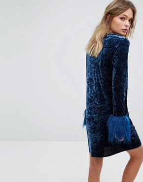 photo Exclusive Crushed Velvet Mini Dress wih faux Fur Cuff by Anna Sui, color Navy - Image 2