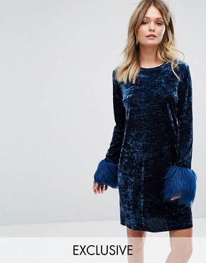 photo Exclusive Crushed Velvet Mini Dress wih faux Fur Cuff by Anna Sui, color Navy - Image 1