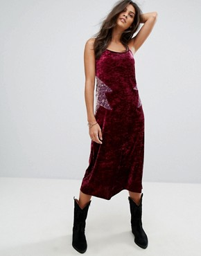 photo Crushed Velvet Starburst midi Slip Dress by Anna Sui, color Wine Multi - Image 1